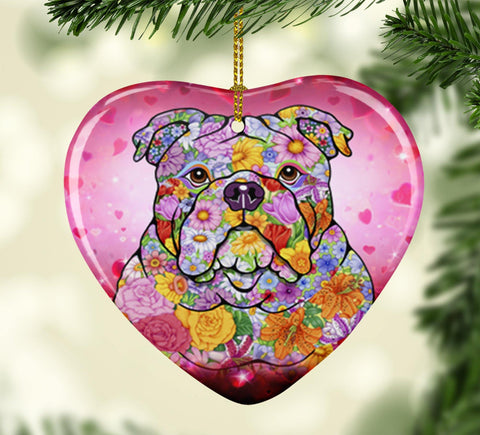 FABULOUS BULLDOG VALENTINE'S DAY CERAMIC HEART ORNAMENT