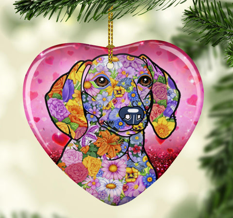 FABULOUS DACHSHUND VALENTINE'S DAY CERAMIC HEART ORNAMENT
