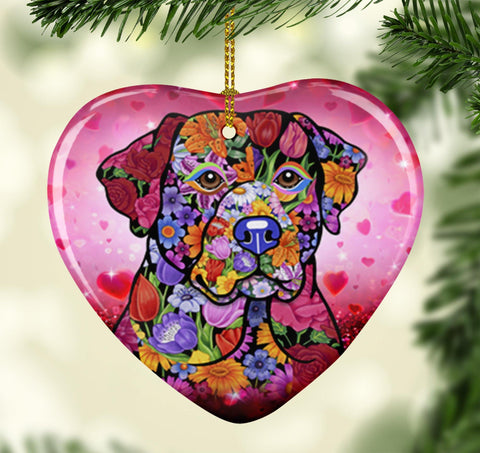 FABULOUS LABRADOR VALENTINE'S DAY CERAMIC HEART ORNAMENT