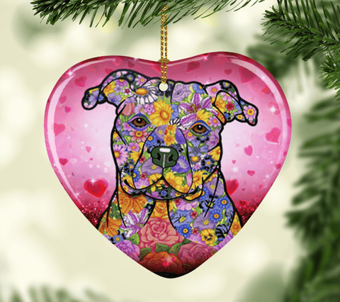 FABULOUS PIT BULL VALENTINE'S DAY CERAMIC HEART ORNAMENT