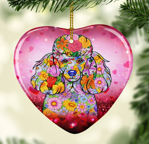 FABULOUS POODLE VALENTINE'S DAY CERAMIC HEART ORNAMENT