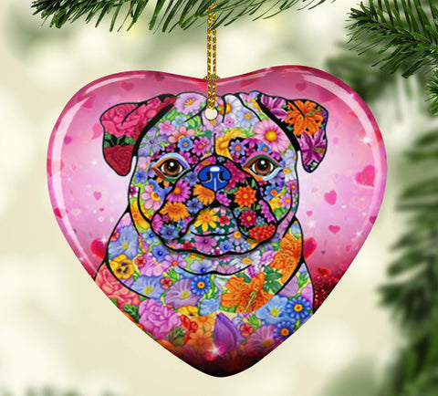 FABULOUS PUG VALENTINE'S DAY CERAMIC HEART ORNAMENT