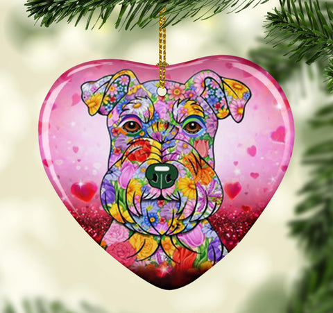 FABULOUS SCHNAUZER VALENTINE'S DAY CERAMIC HEART ORNAMENT