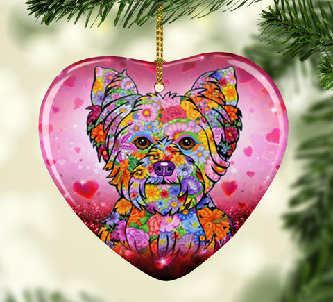 FABULOUS YORKIE VALENTINE'S DAY CERAMIC HEART ORNAMENT