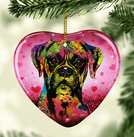 GORGEOUS POP ART BOXER VALENTINE'S DAY CERAMIC HEART ORNAMENT