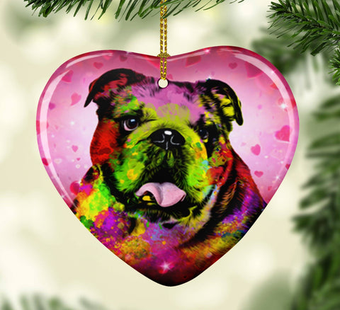 GORGEOUS POP ART BULLDOG VALENTINE'S DAY CERAMIC HEART ORNAMENT