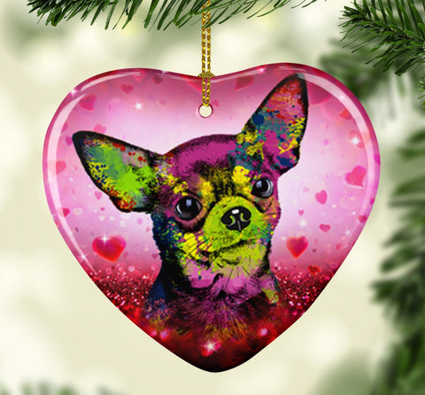 GORGEOUS POP ART CHIHUAHUA VALENTINE'S DAY CERAMIC HEART ORNAMENT