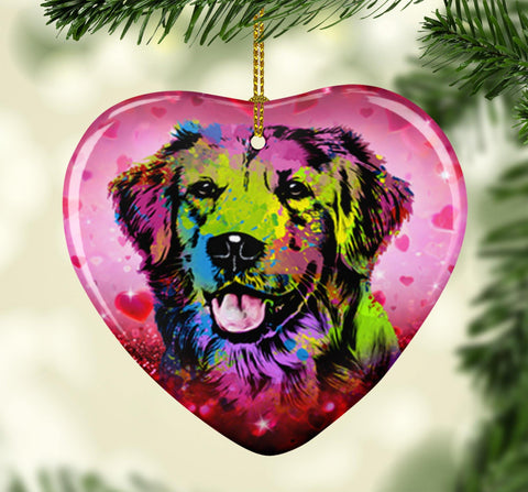 GORGEOUS POP ART GOLDEN RETRIEVER VALENTINE'S DAY CERAMIC HEART ORNAMENT