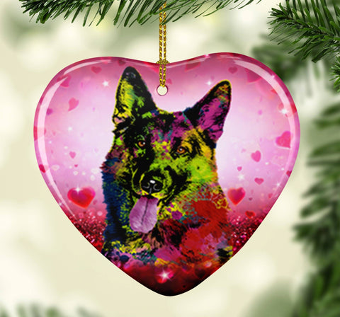 GORGEOUS POP ART GERMAN SHEPHERD VALENTINE'S DAY CERAMIC HEART ORNAMENT