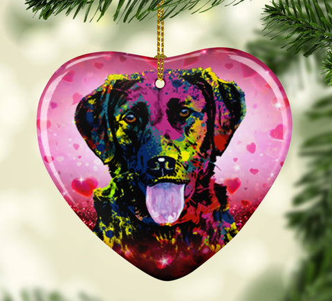 GORGEOUS POP ART LABRADOR VALENTINE'S DAY CERAMIC HEART ORNAMENT