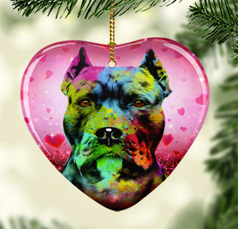 GORGEOUS POP ART CROPPED EARS PIT BULL CERAMIC HEART ORNAMENT