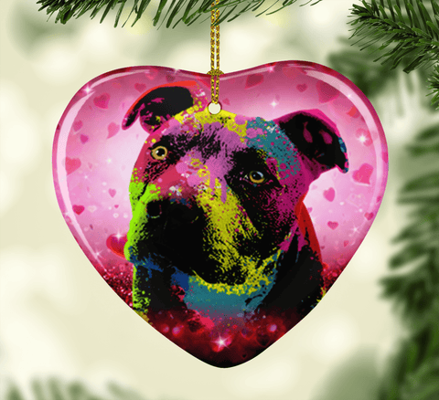 GORGEOUS POP ART PIT BULL VALENTINE'S DAY CERAMIC HEART ORNAMENT