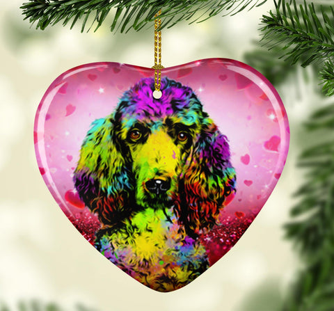 GORGEOUS POP ART POODLE VALENTINE'S DAY CERAMIC HEART ORNAMENT