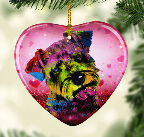 GORGEOUS POP ART SCHNAUZER VALENTINE'S DAY CERAMIC HEART ORNAMENT