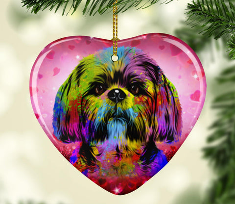 GORGEOUS POP ART SHIH TZU VALENTINE'S DAY CERAMIC HEART ORNAMENT
