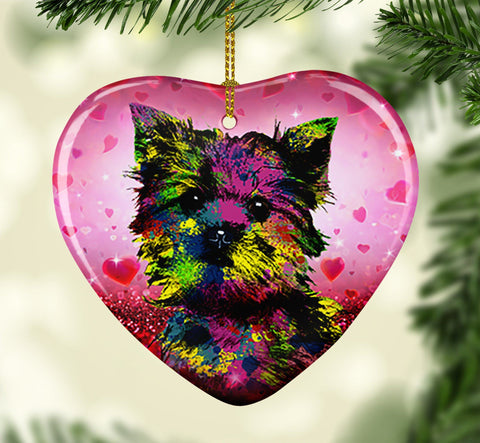 GORGEOUS POP ART YORKIE VALENTINE'S DAY CERAMIC HEART ORNAMENT