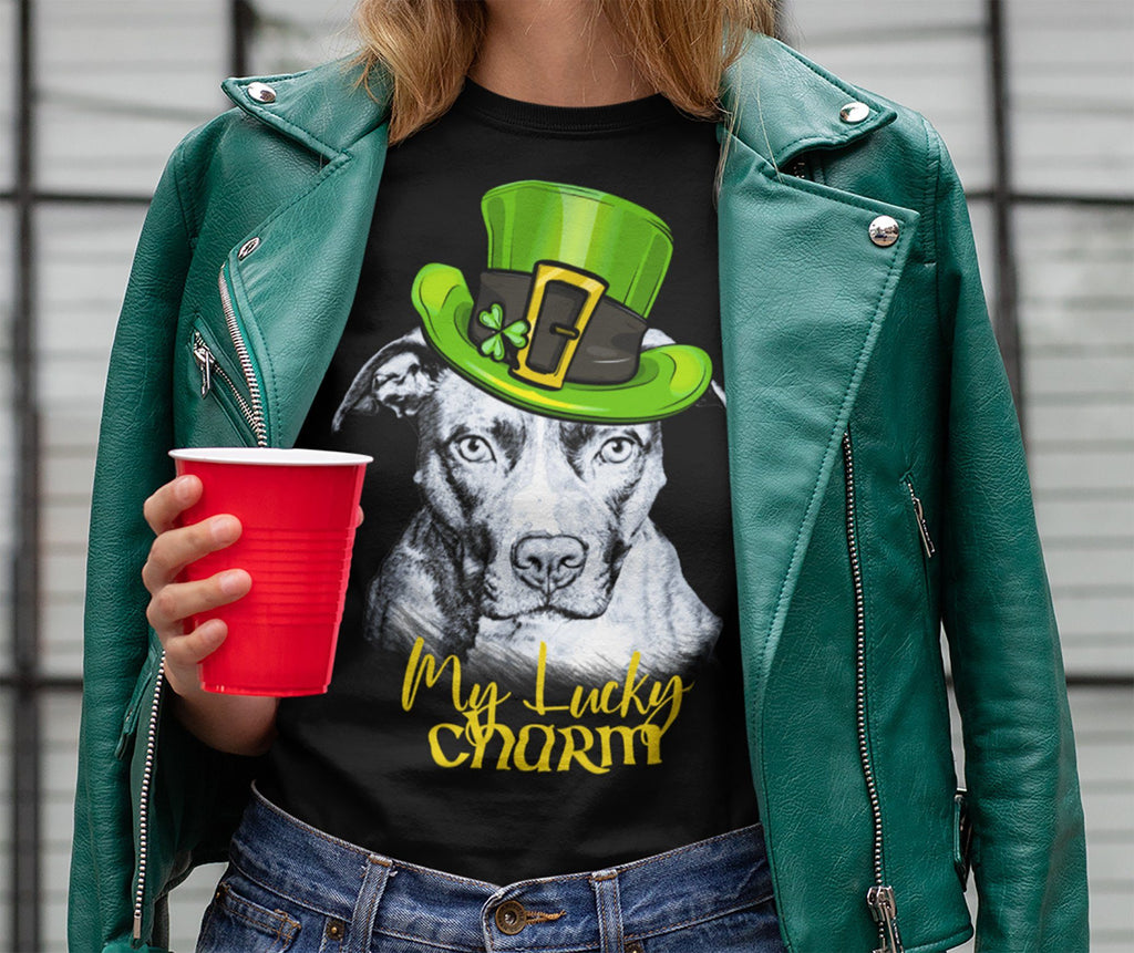 MY LUCKY CHARM PIT BULL BLACK BELLA CANVAS TEES - SIZES TO 4XL