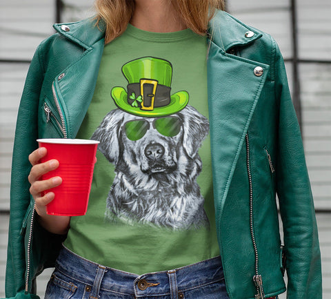 ST. PADDY'S DAY GOLDEN RETRIEVER BELLA CANVAS TEES - SIZES TO 4XL - 4 COLORS TO CHOOSE FROM