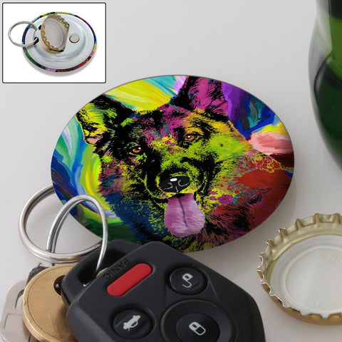 FUN GERMAN SHEPHERD POP ART MAGNETIC BOTTLE OPENER/KEYCHAIN
