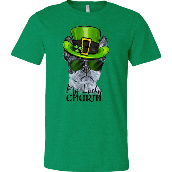COOL BOSTON TERRIER LUCKY CHARM BELLA CANVAS TEE - 2 COLORS - UP TO 3XL