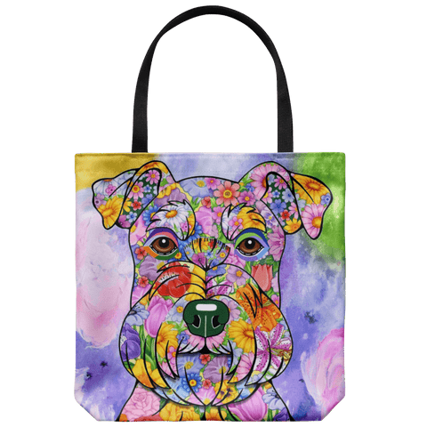 FABULOUS FLOWER SCHNAUZER CANVAS TOTE - NEW BIGGER SIZE