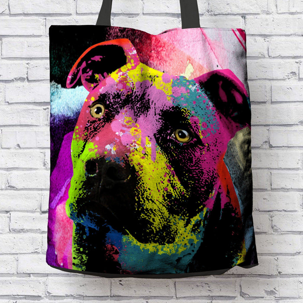 POP ART PIT BULL CANVAS TOTE