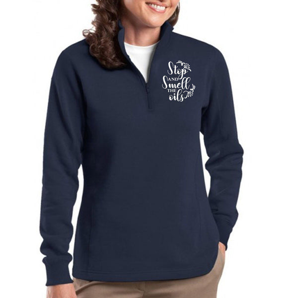 EMBROIDERED SMELL THE OILS Sport-Tek Ladies' 1/4 Zip Sweatshirt - 4 Colors to Choose From