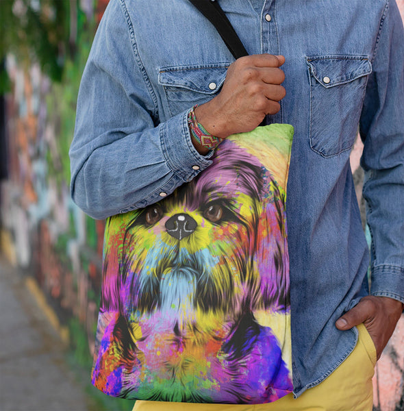 GORGEOUS POP ART SHIH TZU CANVAS TOTE - NEW BIGGER SIZE