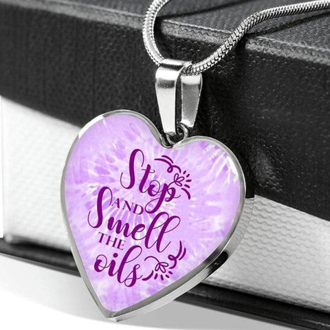 LUXURY STAINLESS STEEL SMELL THE OILS HEART NECKLACE - OPTIONAL ENGRAVING ON BACK - 18k GOLD FINISH OPTION TOO