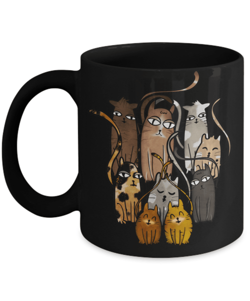 9 CUTE CATS MUG - COMES IN BLACK TOO