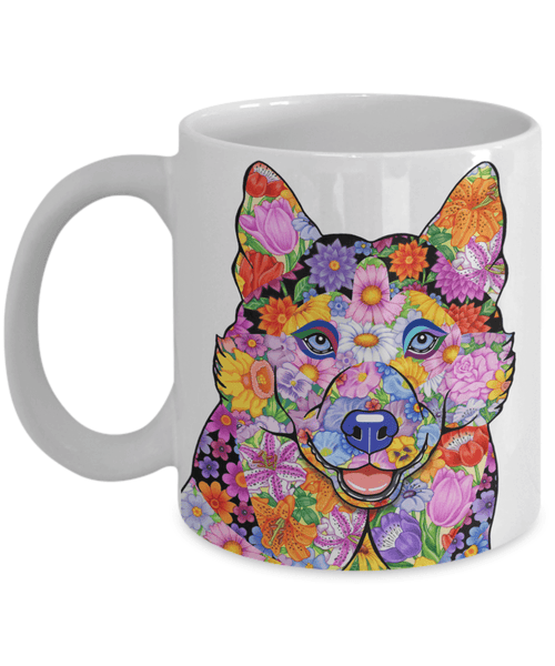 FABULOUS FLOWER HUSKY WHITE MUG - DESIGN ON BOTH SIDES