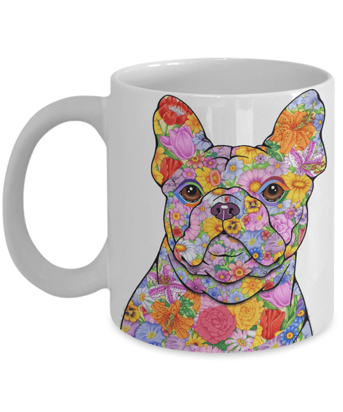 FABULOUS FLOWER FRENCH BULLDOG WHITE MUG - DESIGN ON BOTH SIDES