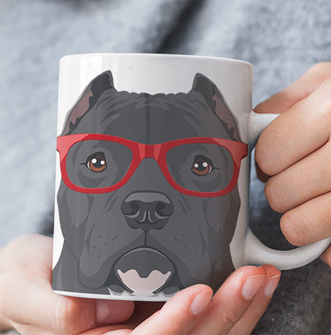COOL CROPPED EARS HIPSTER PIT BULL MUG - 11-OZ. & 15-OZ. SIZES - FULL 365° WRAP DESIGN