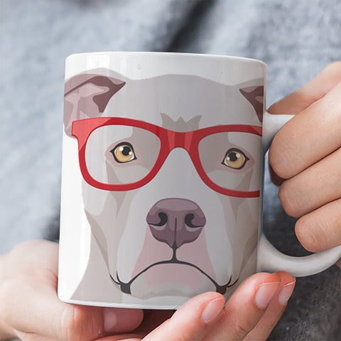 COOL HIPSTER PIT BULL MUG - 11-OZ. & 15-OZ. SIZES - FULL 365° WRAP DESIGN