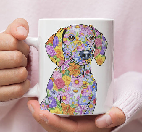 FABULOUS FLOWER DACHSHUND WHITE MUG - DESIGN ON BOTH SIDES