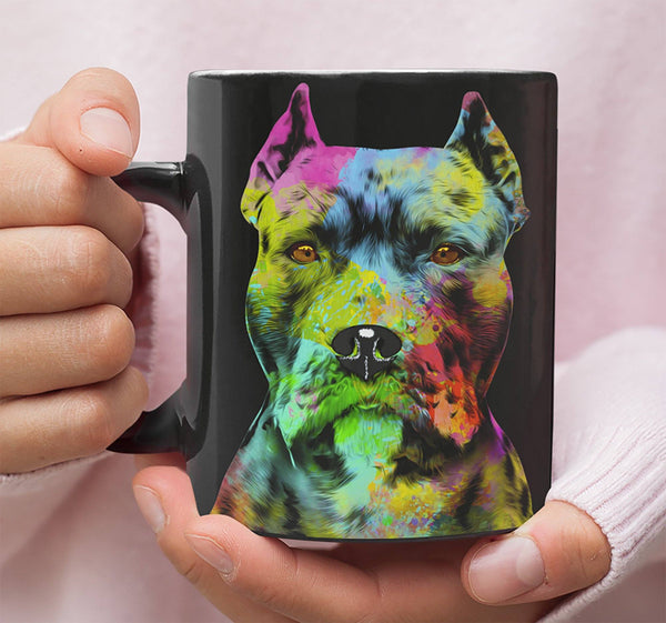 GORGEOUS POP ART PIT BULL CROPPED BLACK MUG - DESIGN ON BOTH SIDES