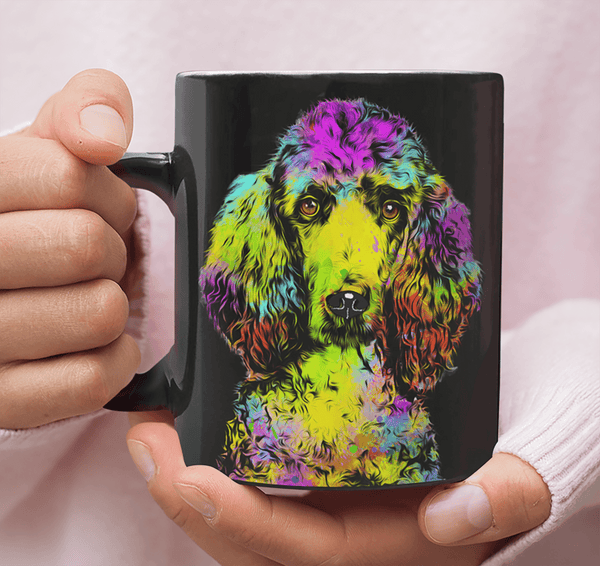 GORGEOUS POP ART POODLE BLACK MUG - DESIGN ON BOTH SIDES