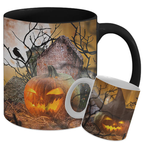 HALLOWEEN SCARY PUMPKINS 11 OZ MUG - WRAP DESIGN - 2 COLORS