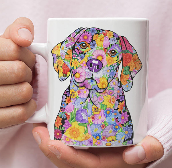 FABULOUS FLOWER BEAGLE WHITE MUG - DESIGN ON BOTH SIDES