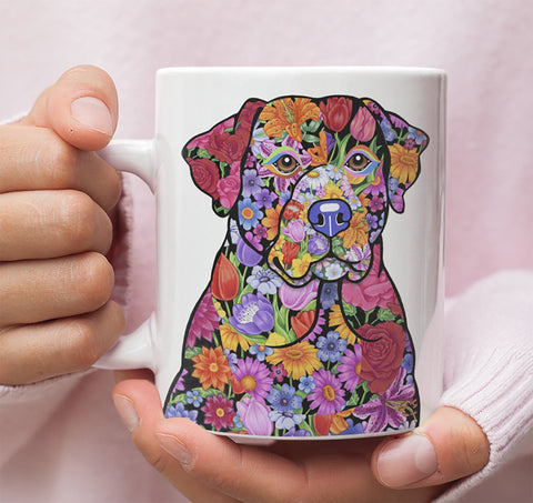 FABULOUS FLOWER LABRADOR RETRIEVER WHITE MUG - DESIGN ON BOTH SIDES