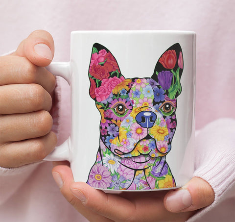 FABULOUS FLOWER BOSTON TERRIER WHITE MUG - DESIGN ON BOTH SIDES