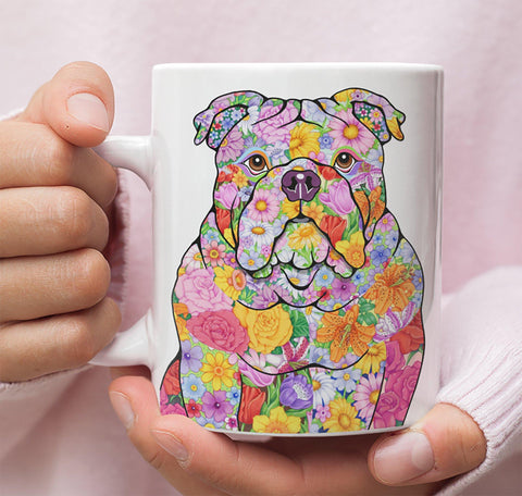 FABULOUS FLOWER BULLDOG WHITE MUG - DESIGN ON BOTH SIDES