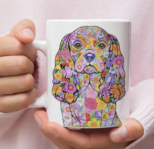 FABULOUS FLOWER CAVALIER KING CHARLES SPANIEL WHITE MUG - DESIGN ON BOTH SIDES