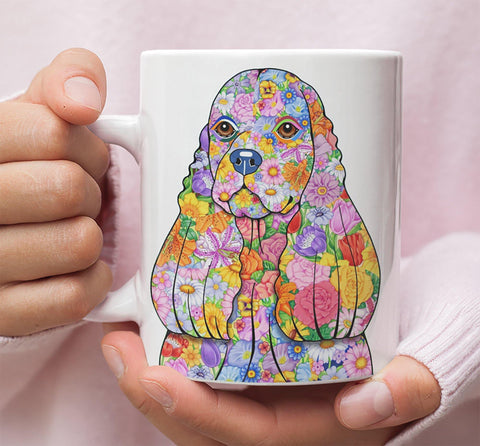 FABULOUS FLOWER COCKER SPANIEL WHITE MUG - DESIGN ON BOTH SIDES