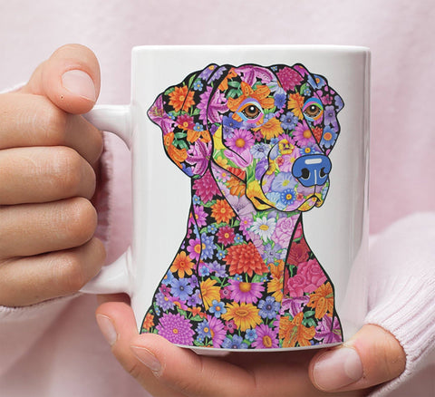 FABULOUS FLOWER DOBERMAN WHITE MUG - DESIGN ON BOTH SIDES