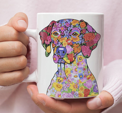 FABULOUS FLOWER GERMAN SHORTHAIRED POINTER WHITE MUG - DESIGN ON BOTH SIDES