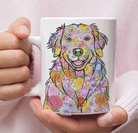 FABULOUS FLOWER GOLDEN RETRIEVER WHITE MUG - DESIGN ON BOTH SIDES