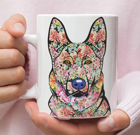 FABULOUS FLOWER GERMAN SHEPHERD WHITE MUG - DESIGN ON BOTH SIDES