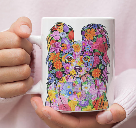 FABULOUS FLOWER PAPILLON WHITE MUG - DESIGN ON BOTH SIDES