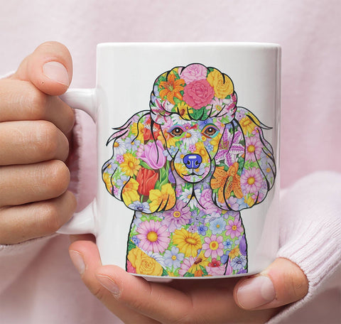 FABULOUS FLOWER POODLE WHITE MUG - DESIGN ON BOTH SIDES